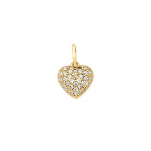 Pingente de Ouro 10k Coração Pequeno Cravejado de Zircônias New Gold