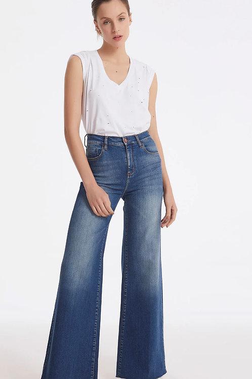 Calça Pantalona Cós Alto Barra A Fio Jeans