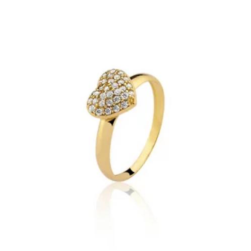 Anel de Ouro 10k Coração Cravejado de Zircônias New Gold