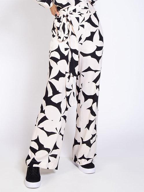 Calça Feminina Pantalona Amarração Floral