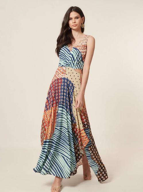Vestido Longo Assimétrico Abstrato