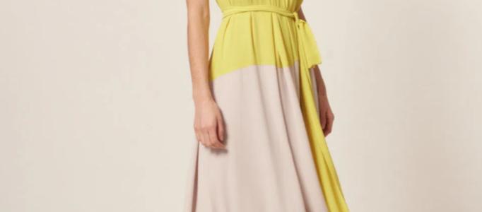 Vestido Longo Chiffon Recorte Color