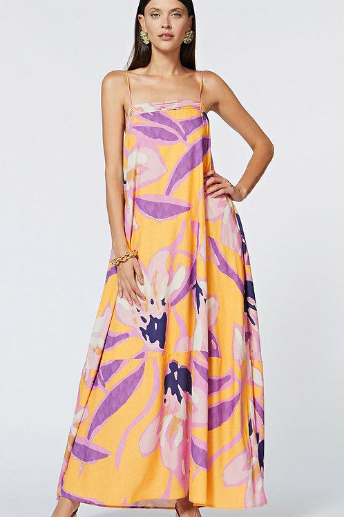 Vestido Morena Rosa Longo Decote Quadrado Detalhe Decote Laranja e Rosa