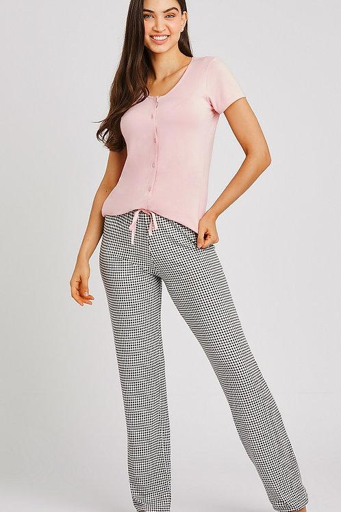 Pijama Longo Manga Curta Jogo de Xadrez