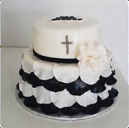 black and white frills communion cake.pn