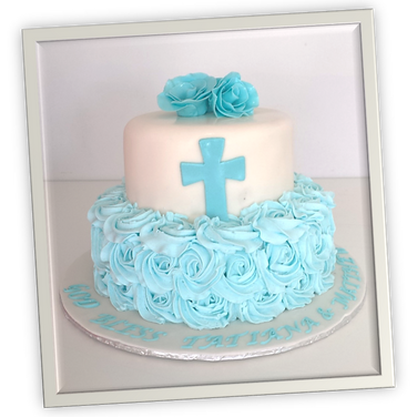 blue rossette communion cake.png