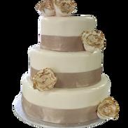 gold rim peonies wedding cake .png