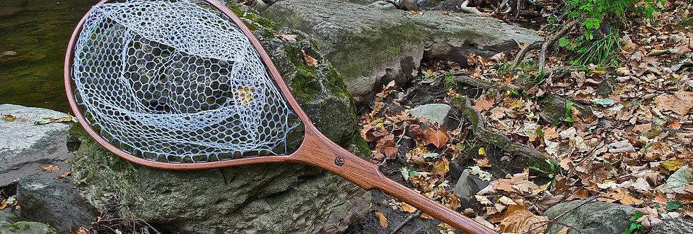 wood salmon landing net, steelhead net, huge landing net, giant landing net, hand made landing net, wood landing net, BC net