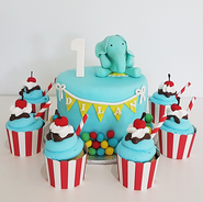 carnival elephant and sundae cupcakes.pn