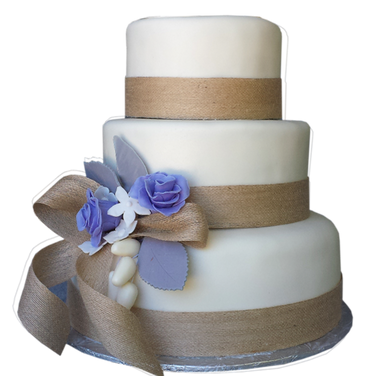 rustic wedding cake bulap bow.png