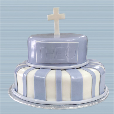 Blue and white striped baptism cake 2.pn