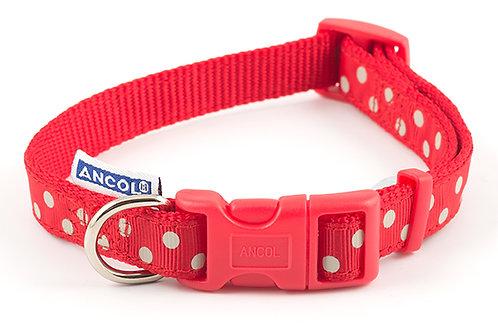 Ancol Adjustable polka red collar