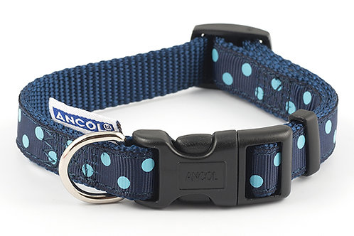 Ancol Adjustable polka blue collar 1-2