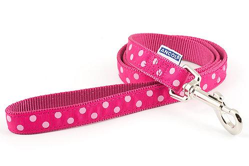 Ancol polka lead raspberry pink