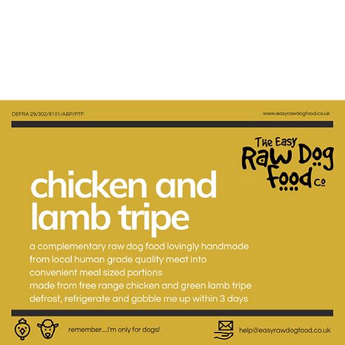 Easy Raw Dog - Chicken and Lamb Tripe (no offal)