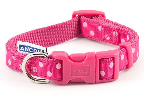Ancol Adjustable polka raspberry collar