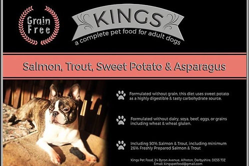 Kings, salmon, trout, sweet potato and asparagus 15kg working dog