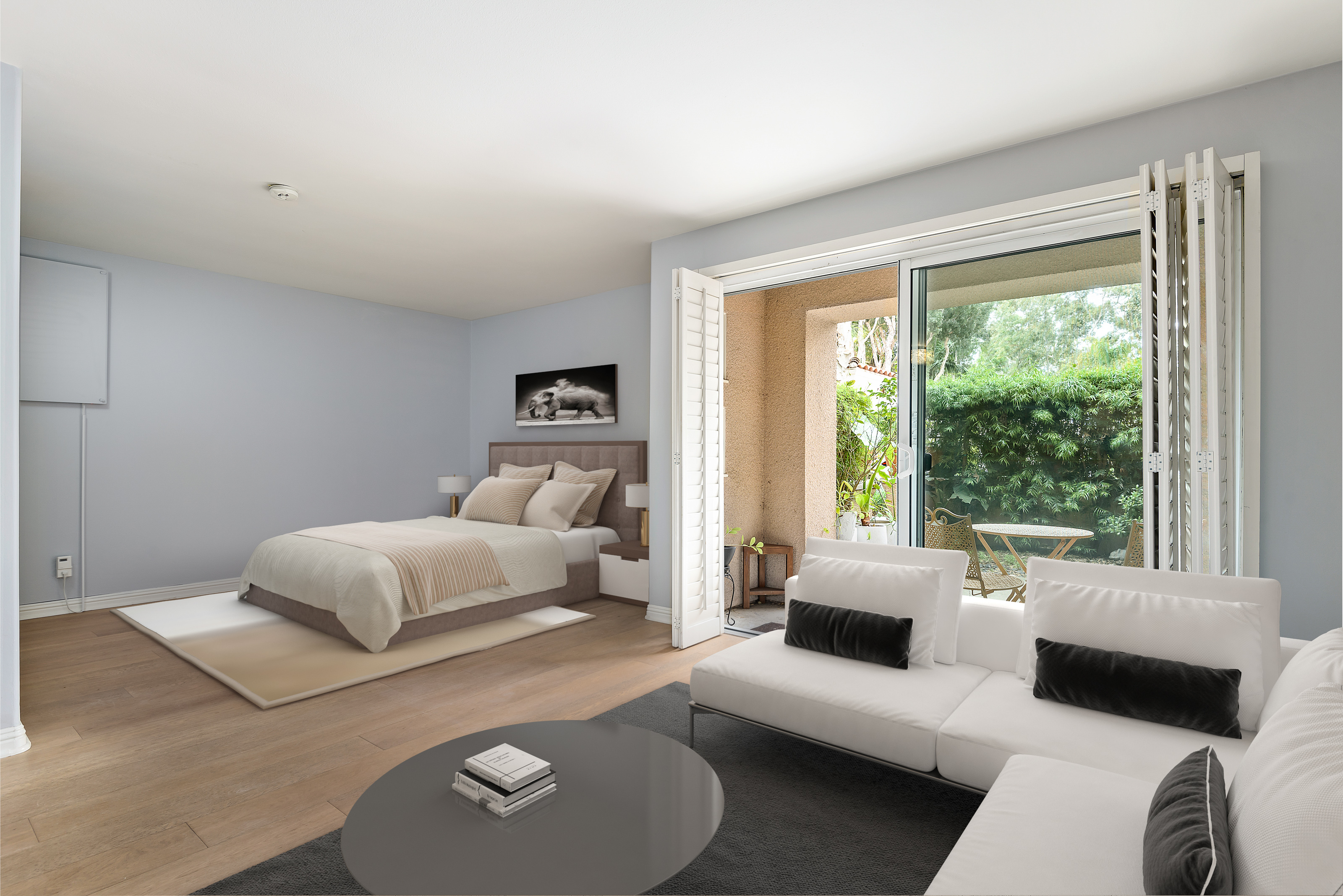Living & Bedroom Area - Virtually Staged