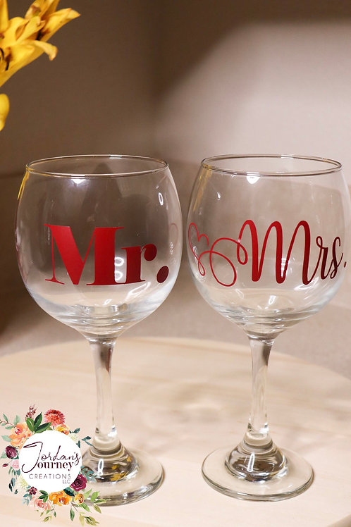 """Mr. & Mrs."" Wine Glass Set"