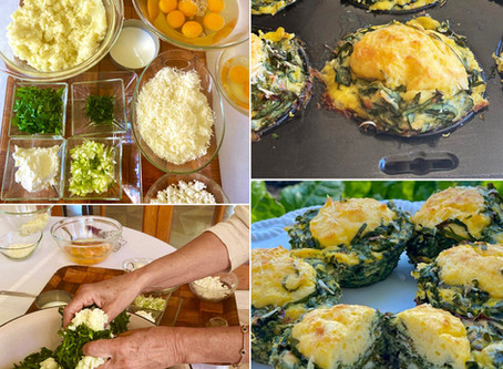 Crustless Mini Spinach (Swiss chard) & Feta Quiches - quajado di pasi kon patata i keso (sfongo)