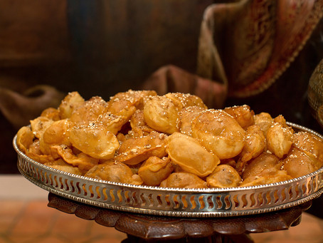 """Pastry Puffs topped with honey, nuts & cinnamon """"Piticas"""""""