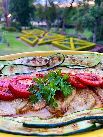 Aubergine, Zucchini & Tomato Salad