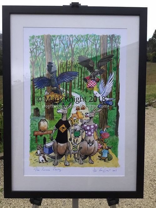 """The Picnic Party"" Mark Knight Limited Edition Print - Black Framed"