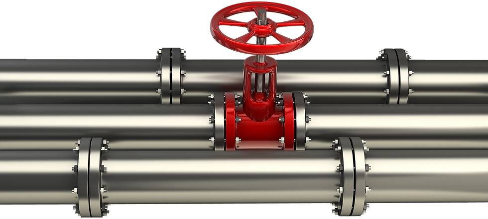 Gas pipe with red valve