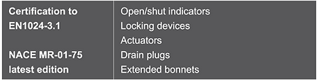 open shut indicators, locking devices, actuators, drain plugs, extended bonnets