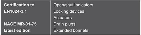 open shut indicators, locking devices, actuators, drain plugs, extended bonnets
