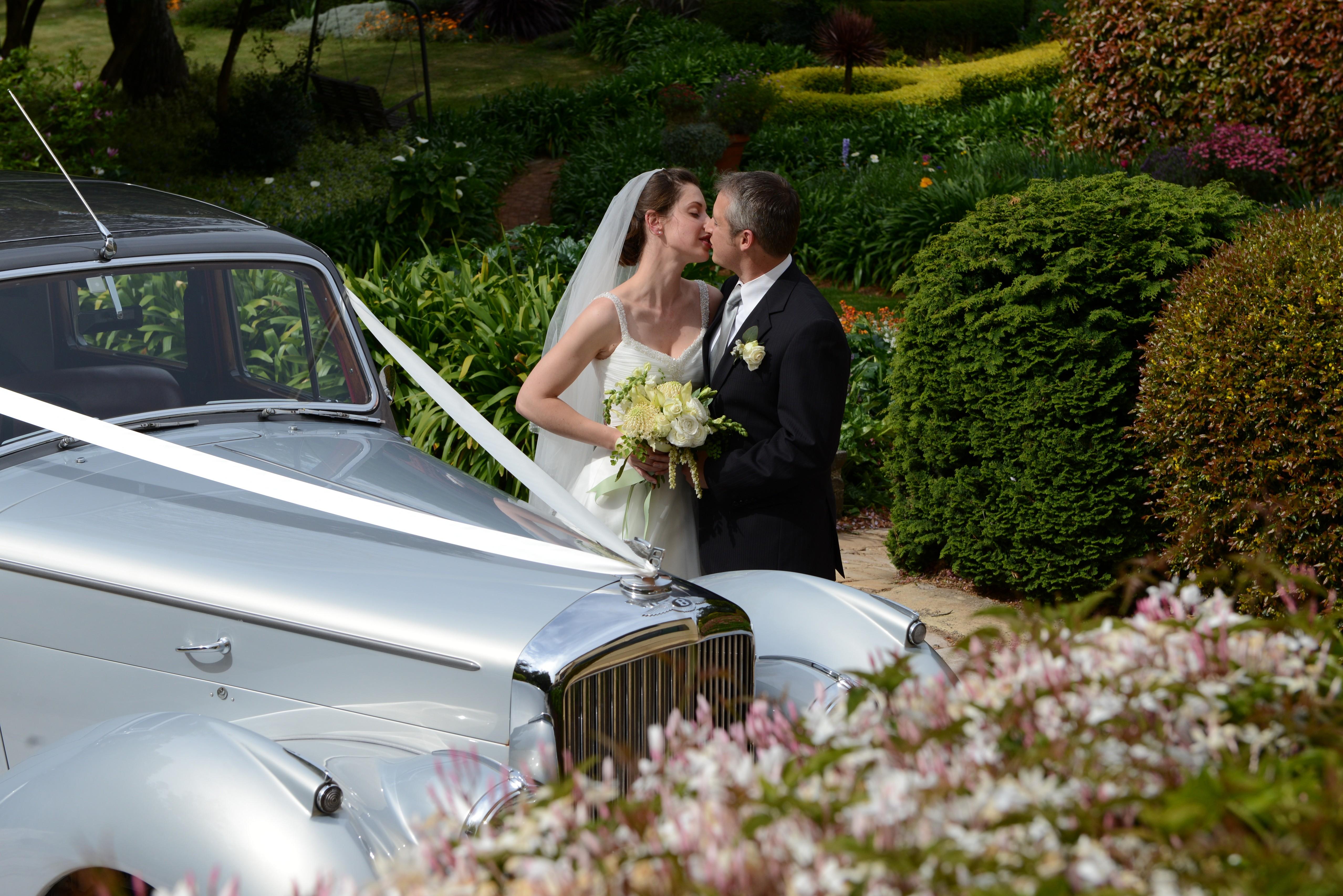 couple, kiss, car, gardens