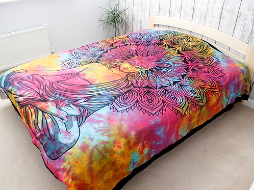 Double Cotton Bedspread + Wall Hanging - Peaceful Buddha