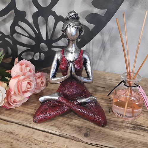 Yoga Lady Figure - Silver & Bordeaux
