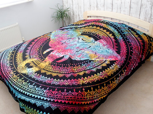 Double Cotton Bedspread + Wall Hanging - Elephant Head
