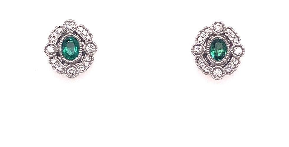 18KW Emerald & Diamond Earrings