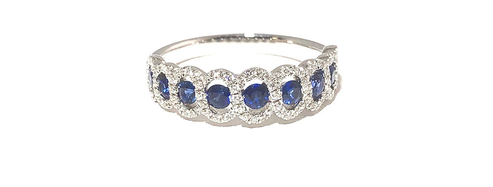 18K Blue Sapphire and Diamond Ring