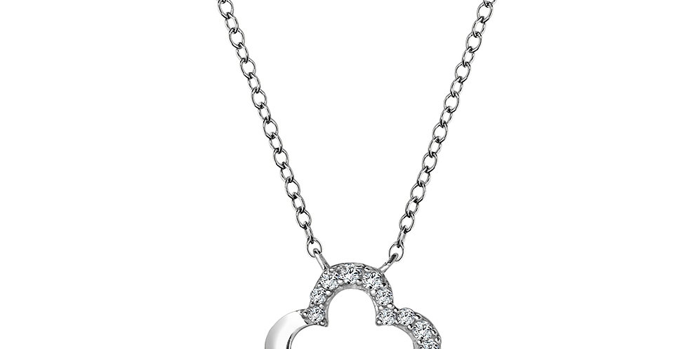 White Gold and Diamond Clover Necklace