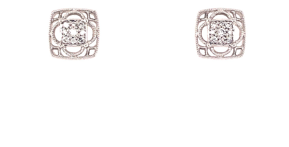 14KW Vintage Style Diamond Earrings