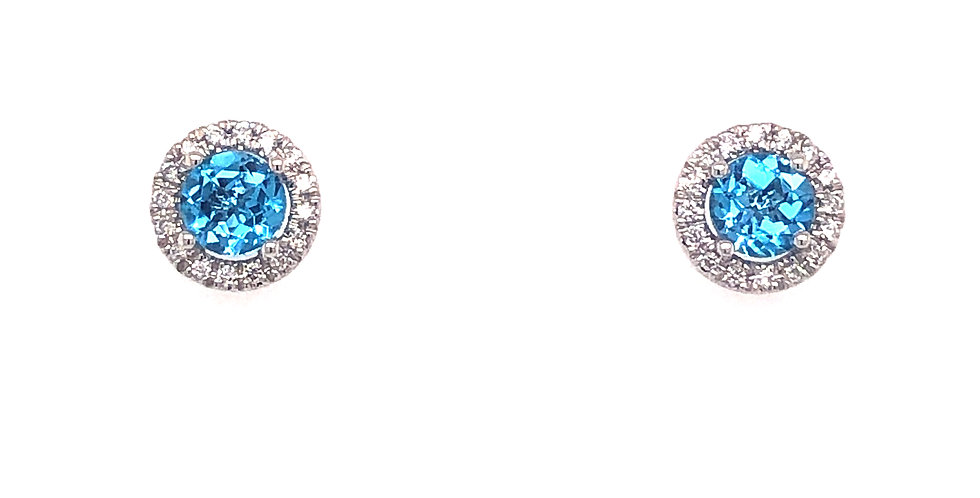 14KW Blue Topaz & Diamond Earrings