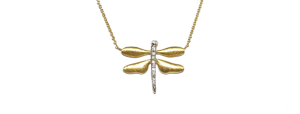 19KY & 18KW Diamond Dragonfly Necklace