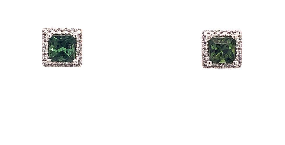 14KW Green Sapphire Earrings