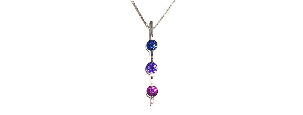 14KW Tri Color Sapphire Pendant