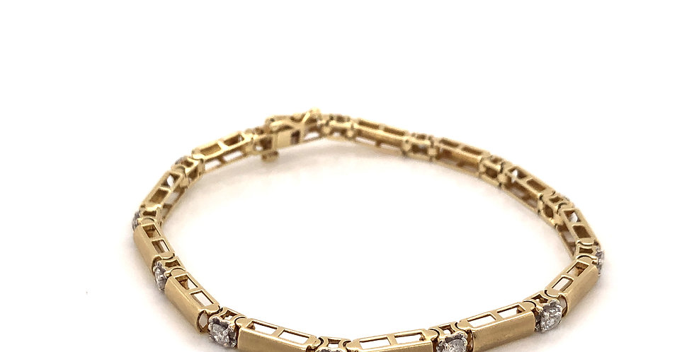 14KY Bars & Diamond Line Bracelet