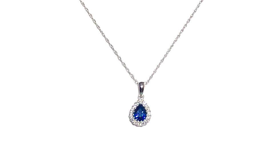 18KW Blue Sapphire & Diamond Pendant