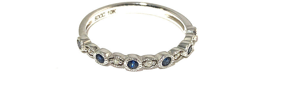 10K Blue Sapphire and Diamond Stackable Ring