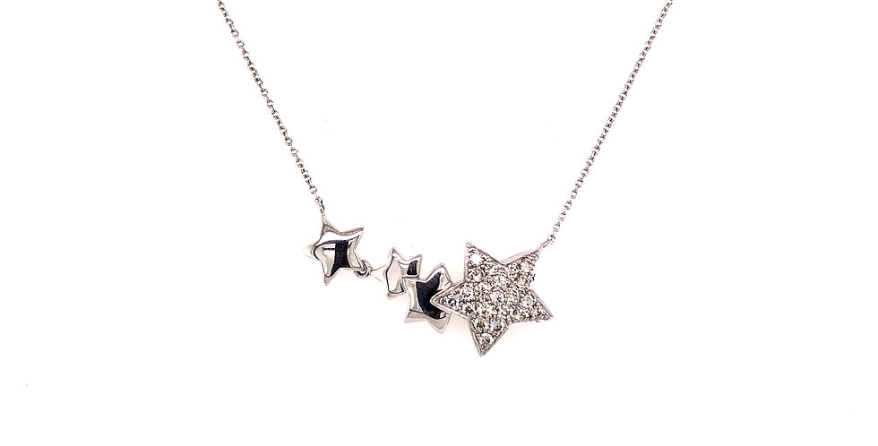 14KW Star Necklace with Pave Diamonds
