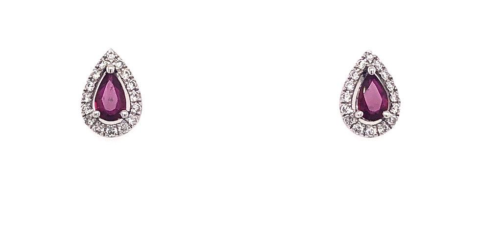 14KW Ruby & Diamond Earrings