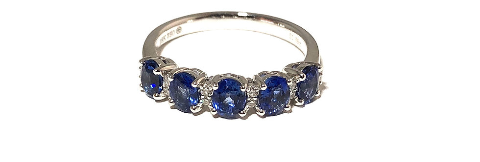 18K Oval Blue Sapphire and Diamond Ring
