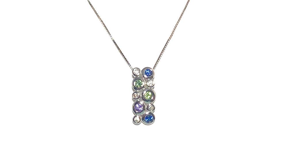 14KW Sapphire & Dia Pendant