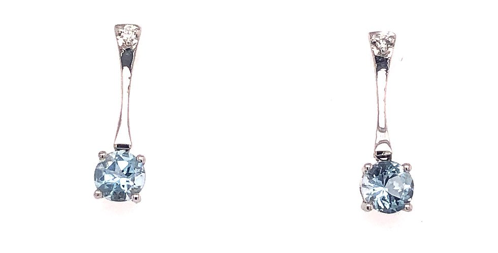 14KW Aquamarine Bar Earrings